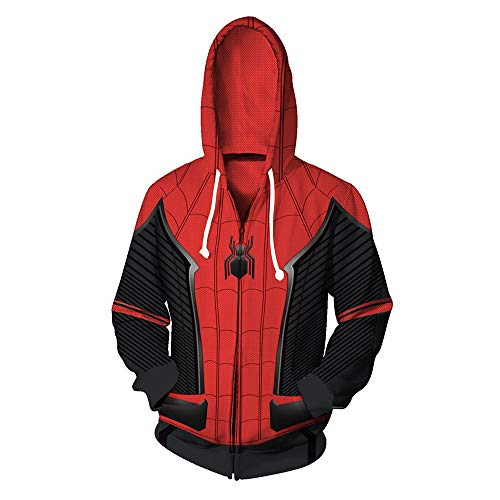 Moovi Spider-Man Unisex Superhero Cosplay Costume Hoodie Jacket with Zipper (Small) Red and Black