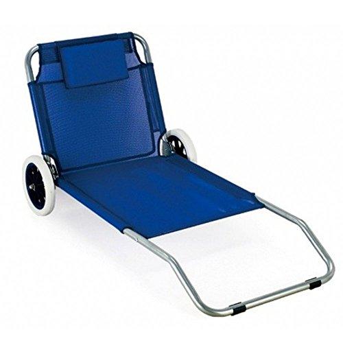 Spiaggina mare sdraio carrello textilene blu con cuscino per campeggio spiaggia piscina giardino