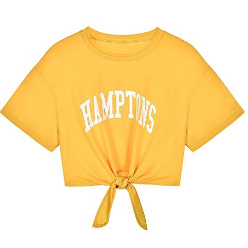 iHENGH Damen Top Bluse Lässig Mode T-Shirt Frühling Sommer Bequem Blusen Frauen beiläufiger Buchstabe Gedruckter Verband Kurzarm Spitzenbluse Crop Tops Shirt(Gelb, L)