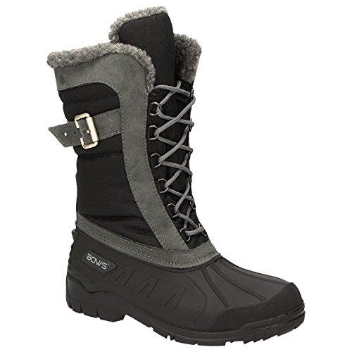 BOWS® -SUSI- Winterstiefel Damen Schnee Stiefel Snow Schuhe Winterboots warm gefüttert wasserdicht wasserabweisend, Schuhgröße:39, Farbe:schwarz - Warme Stiefel Schnee