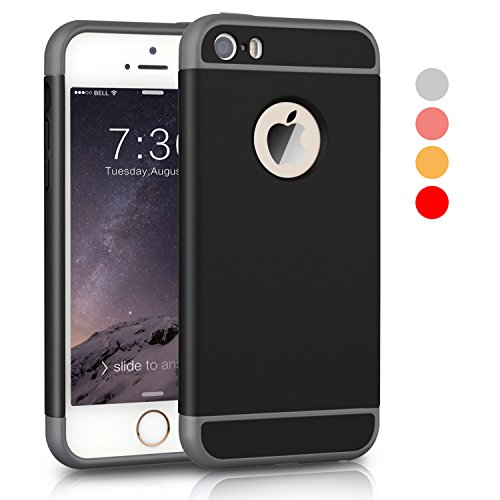 iPhone 5S Hülle,iPhone SE Hülle,3 in 1 Ultra Slim hart Hülle Anti- rutsch Matte Oberfläche Grenze für iPhone 5 und iPhone SE Schwarz