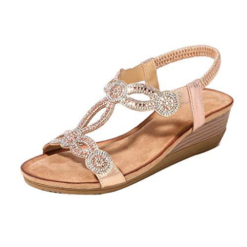 Bazhahei boemia sandali estivi donna eleganti bassi,moda open toe sandali con zeppa sandali da spiaggia roma scarpe casual donna estive(alto 5cm)