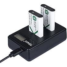TOP-MAX 2 paquetes NP-BX1 Batería + Cargador Doble Para Sony NP-BX1, Sony Cyber-shot DSC-HX50V, DSC-HX300, DSC-HX400,DSC-RX1, DSC-RX1R, DSC-RX100, DSC-RX100 II, DSC-RX100M II, DSC-WX300, HDR-AS10, HDR-AS15, HDR-AS30V,HDR-AS50R, HDR-AS100V, HDR-AS100VR, HDR-AS300R,HDR-CX240, HDR-MV1, HDR-PJ275,FDR-X3000, FDR-X3000R