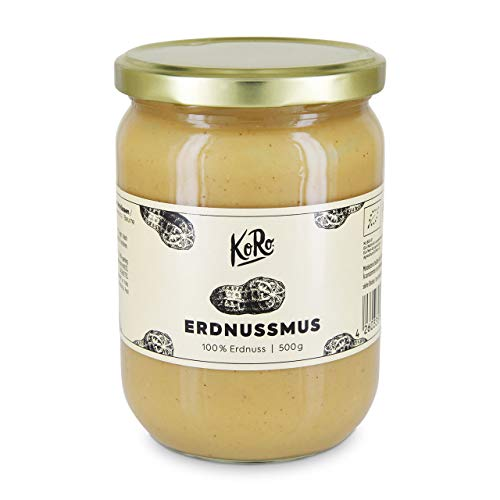 KoRo ● Erdnussmus Bio ● 500 g ● Ohne Zucker und Salz ● Vegan ● Brotaufstrich ● Nussmus ● Erdnussbutter ● Peanut Butter ● Nuss Creme