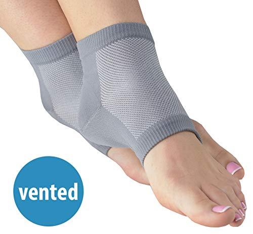 NatraCure atmungsaktive & feuchtigkeitsspendende Gel Fersensocken - Größe: groß - Anti Hornhaut & Fersensporn Socken, Hacken & Fersenschutz gegen Fersenschmerzen für Damen & Herren -