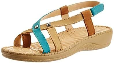Dr. Scholl's Women's Elisa Toe Ring Natural Multi-Colour Leather Fashion Sandals - 8 UK/India (41 EU) (6630078)