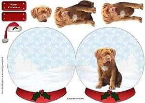Dogue de Bordeaux de Noël Boule à neige Par Liz Harrison
