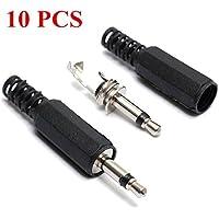 Saver 10pcs connettori da 3.5 mm adattatore mono maschio spinotto delle cuffie jack audio saldare nero