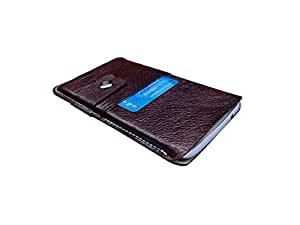 ATV Genuine Leather BROWN Designer Pouch Case Cover For Huawei Ascend G740