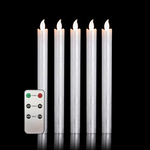 Silber-metallic Led (5er Set LED Stabkerzen Tafelkerzen mit Fernbedienung und Timer aus Echtwachs - verschiedene Farben wählbar (Silber + FB))