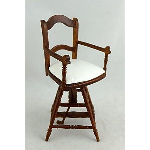 Mueble En Miniatura De Calidad Para Casa De Muñecas Nogal Victoriana Niños Peluquería Silla