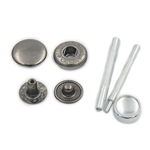100Sets 10mm 3/20,3cm Schnappverschluss aus Metall Leder Craft Rapid Stift Fassung Nähen Knopf Werkzeug, metall, Gun Black, 10mm 3/8