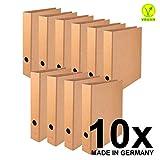 Original Falken 10er Pack Vegan-Ordner Pure. Made in Germany. 5 cm breit DIN A4 Braun Aktenordner Briefordner Büroordner Pappordner Schlitzordner