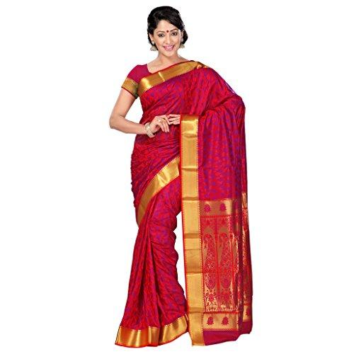 Varkala Silk Sarees Women's Art Silk Kanchipuram Saree With Blouse Piece(JP8110RDV_Red_Free Size)
