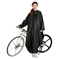 Cuzit Hoods And Sleeves Rain Poncho Durable Scooter Raincoat Cycle Rain Cape Bike Raincoat For Outdoor Sports Camping,Hiking,Fishing,Cycling-Black