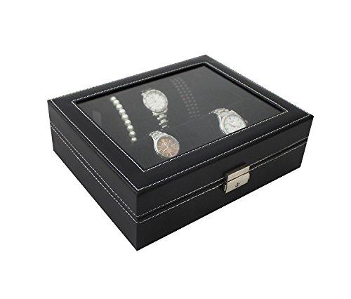 Todeco - Uhrbox, Uhr und Armband Aufbewahrung - Größe: 25 x 20 x 8 cm - Material der Box: PU - 10 Uhren und Display, Schwarz