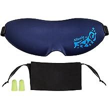 Allewie Antifaz de Ojos Anti-Luz para Dormir&Acostarse&Viajar Sueño Ultra-Suave Sombra de Dormir Antifaz de Espuma de Memoria Suave y Ligero con Dos Tapones para los Oídos(Azul)