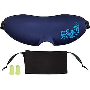 Allewie Schlafmaske Schlafbrille Augenmaske 3D mit vestellbarem Gummiband mit 2 Ohrstöpsel und Aufbewahrungsbeutel, Blau