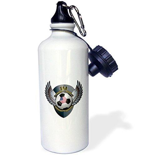 Foto de Estados Unidos de balón de fútbol con escudo del equipo de fútbol americano América Estados Unidos deportes botella de agua botella de agua de acero inoxidable para mujeres hombres niños 400ml