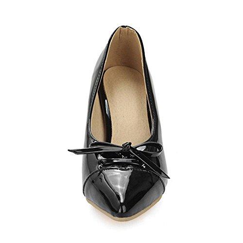 COOLCEPT Damen Fashion Pointed Toe Stiletto Heels Sweet Pumps mit Bogen Schwarz