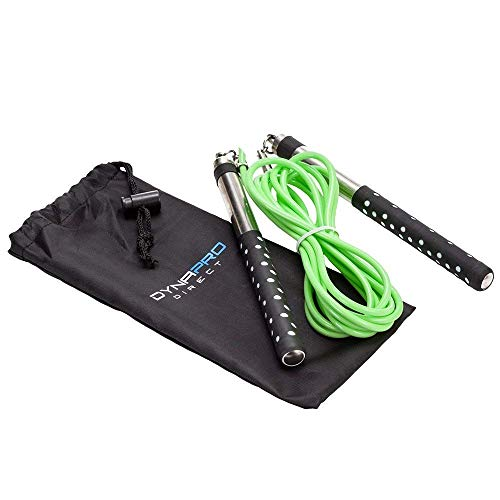 DYNAPRO-Neon-Green-Jump-Rope-Premium-Quality-Long-Aluminum-Handles-10-Adjustable-PVC-Speed-Cable-for-Crossfit-Boxing-Cardio-HIIT-Workouts-and-Home-Gym-Fitness-Exercise