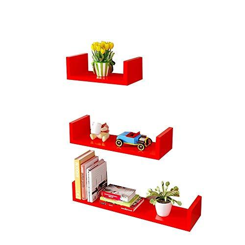 dregal Eckregal Wandhalterung Floating Shelf TV Hintergrund Wandrahmen (DIY Assembly \\ u0026 Load20KG) (Farbe: Rot) ()