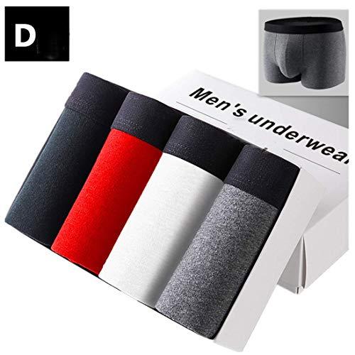 Yvelands Herren Slips heiße Art und Weise 4er Pack bequem bunt 95% Baumwolle Unterwäsche Plus Size(Schwarz, Rot, Weiß, Grau,XXXL)