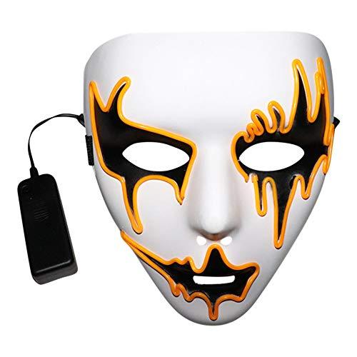 Rovinci Halloween Sound Reactive Full Face LED Light Up Máscara Dance Rave EDM Plur Party para la Navidad Halloween Cosplay Grimace Festival Party Show, Batería motorizado (no Incluido)