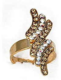 Hashcart Designer Gold Plated With Diamond Ring For Girls And Women (Free Size)