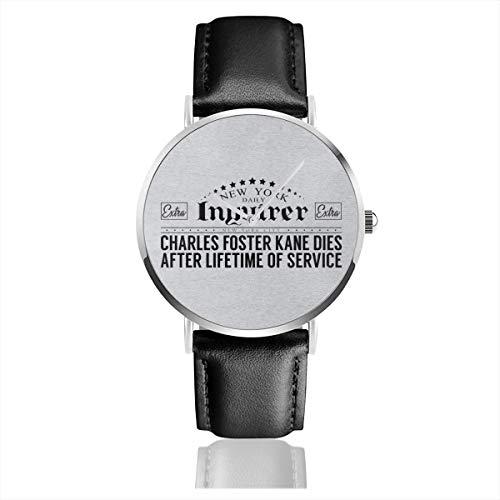 Citizen Kane New York Unisex Business Casual Inquirer Headline Uhren Quarzuhr Lederband schwarz für Herren Damen Young Collection Geschenk