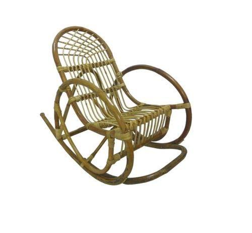 Savino fiorenzo dondolino sedia a dondolo da bambino per bimbo baby in vimini bambù rattan e giunco naturale sole