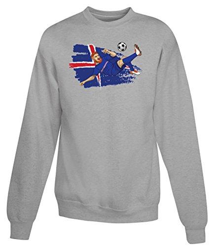 Billion Group   Iceland Strákarnir Okkar   Football Illustration   Sport Series   Women's Unisex Sweatshirt Gris