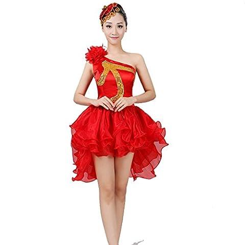 Wgwioo costume de danse en tambour carré robes de danse modernes paillettes sleaveless femmes adulte princesse mariage classique chœur d'ouverture stade de jupe grande costume de performance nationale , red , l