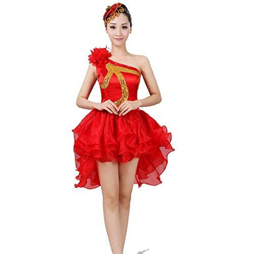 Wgwioo square drum tanz kostüm modern dance kleider pailletten sleaveless erwachsene frauen prinzessin hochzeit klassische eröffnung chor big rock bühne national performance kostüm , red , (Theater Kostüme National)