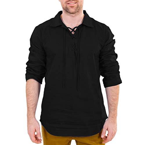 BHYDRY Herren Baggy Baumwolle Leinen Solide Langarm Drawsting Retro T Shirts Tops Blusen(Medium,Schwarz