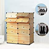 Yellow Stripes : Nex Shoes Cabinet with Doors Christmas Gifts Adults Shoes Or 32 Pairs of Kids Shoes Plastic 10 Cube Shoe Rack Bookcase Plastic 10 Cub
