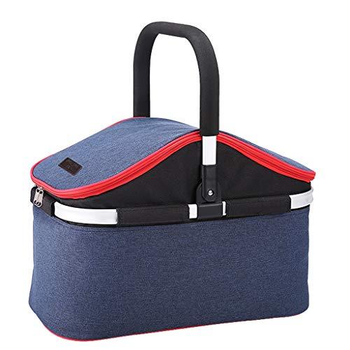 Picknick-tasche Oxford Tuch Wasserdicht verschleißfest Outdoor Camping Camping Mit Abdeckung Einkaufskorb Isolierung Paket Reise Tragbare Falten Picknickkorb (Color : GRAY, Size : 48 * 26 * 34CM)