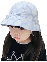 HAPPY CHERRY Primavera Verano Sombrero Infantil de Sol Tipo de Pescador Algodón Lunares Visera de Ala Ancha Gorra con Lazo Sun Hat para Bebés Niñas