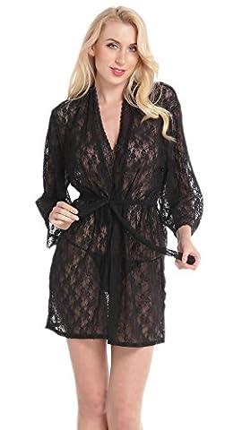 Aibrou Femme robe Nuisette Satin Dentelle Combinaison Nuisettes string Sexy Transparente Courte Lingerie Babydoll Déshabiller Chemise De Nuit Noir