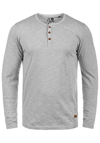 !Solid Migos Herren Longsleeve Langarmshirt Shirt Mit Grandad-Ausschnitt Aus 100% Baumwolle, Größe:XL, Farbe:Monument (2545)