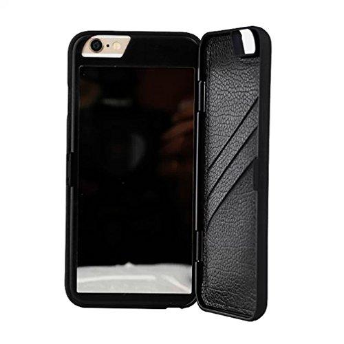 Nouveau design Fashion 3D Miroir Magique et style portefeuille Coque téléphone coverf0m3, Silicone, rose, iPhone 6 Plus noir