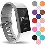 Yousave Accessories® Fitbit Charge 3 Armband, Silikon Ersatzarmband für Fitbit Charge3 Fitness Tracker, Sport Schrittzähler Armband, Fitbit Charge 3 Armbänder - Klein - Weiß