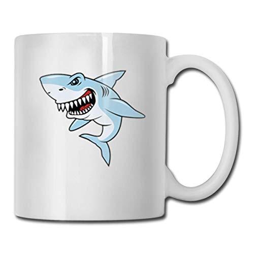 Daawqee Becher Coffee Mug Shark-Illustration Mug Funny Ceramic Cup for Coffee and Tea with Handle, White