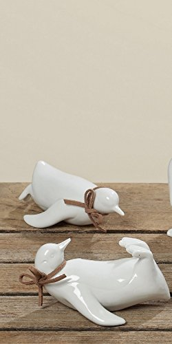 Pinguin weiß Porzellan liegend Dekofigur Deko Tierfigur Set -