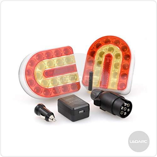 Connect LED-Kit 2 LED-Rücklichter, Leuchtensatz - kabellos, Befestigung durch Magnet, 12V, ECE-Zulassung, ideal für Fahrzeuge mit außergewöhnlichen Verkehrsmitteln Abschleppwagen Landmaschinen -