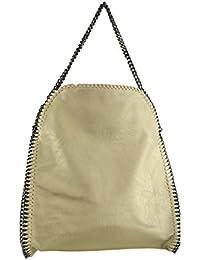 Handtasche Damen Shopper Beuteltasche mit Kett (Gold02)