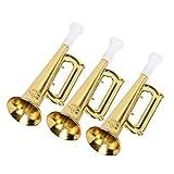 STOBOK 12pcs Plastica Tromba Giocattolo Compleanno di fetsa per Bambini (Oro)