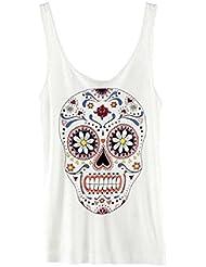 Western coloré imprimé Squelette Sans Manches pour Femme pour Tops, blanc, Taille XXL