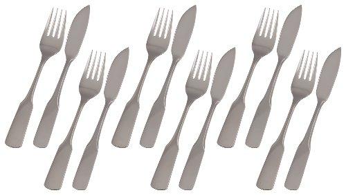 *GRÄWE® Fischbesteck 12-teilig für 6 Personen, Serie Spaten Edelstahl 18/10*
