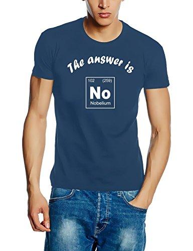 The answer is No - Nobelium - T-Shirt Chemische Elemente - Periodensystem der Elemente! stoneblue Gr.M